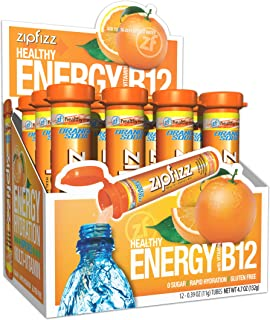 Zipfizz Healthy Energy Drink Mix, Hydration with B12 and Multi Vitamins, Orange Soda, 12 Count