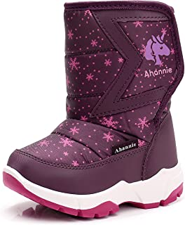 Ahannie Kids Boys Girls Snow Boots, Outdoor Warm Insulated Winter Boot for Toddler/Little Kid