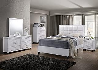 GTU Furniture 5Pc Queen Wood White Storage Bedroom Set (Bed + Night Stand + Mirror + Dresser + Chest, Queen)