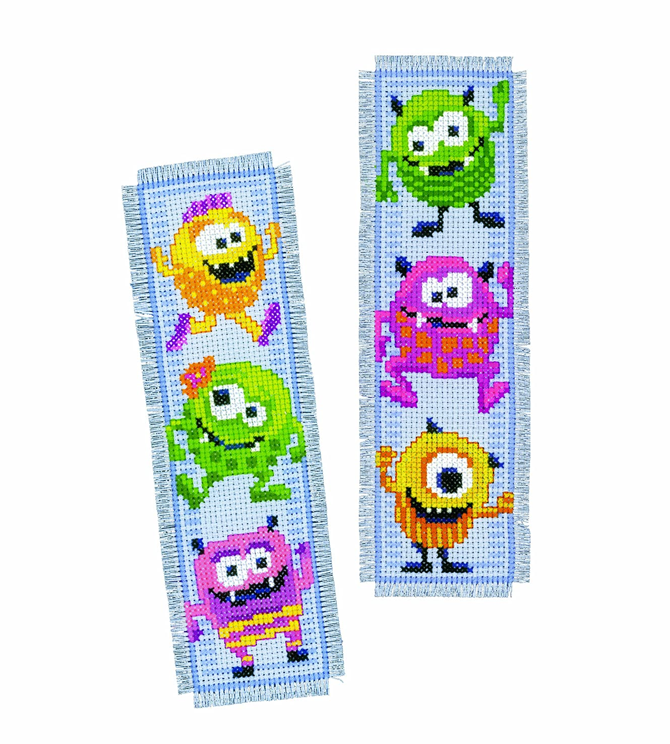 Vervaco 14 Count Little Monsters Bookmarks on Aida Counted Cross Stitch Kit (Set of 2), 2.5