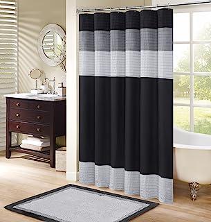 "Comfort Spaces Windsor Bathroom Shower Pieced Ruffle Pattern Modern Elegant Microfiber Fabric bath curtains, 72""x72"", Blac..."