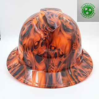 Wet Works Imaging Customized Pyramex Full Brim Orange See No Evil Skulls Hard Hat with Ratcheting Suspension