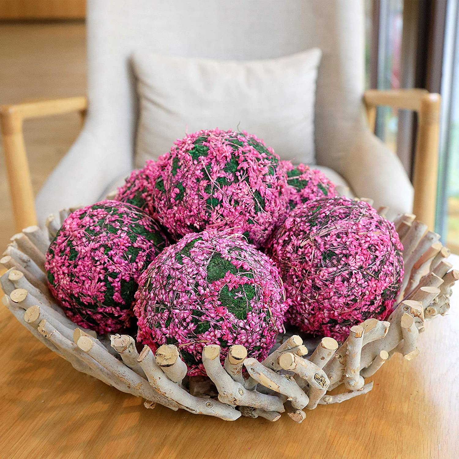 Qingbei Rina Dried Flower and Preserved Grass Decorative Ball Bowl Vase Basket Filler for Home Garden Decoration Pink, Diameter of 3.15 Inches, 6 Packs