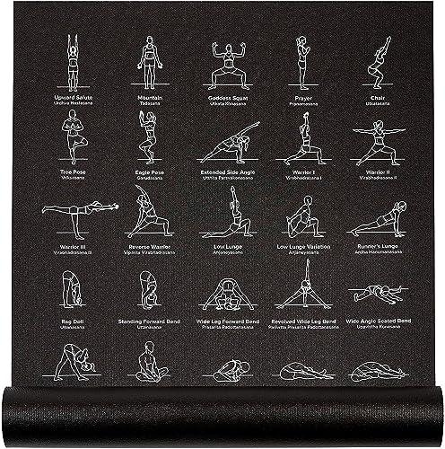 "NewMe Fitness Exercise Yoga Mat - Yoga Mat for Women - 24"" Wide x 68"" Long - Thin, Non-Slip Instructional Mats for Me..."