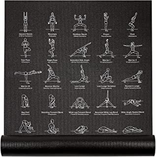 """NewMe Fitness Instructional Yoga Mat Printed w/ 70 Illustrated Poses, 24"""" Wide x 68"""" Long"""