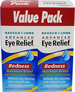 Eye Drops by Bausch & Lomb, for Dry Eyes & Redness Relief, 15 mL (Pack of 3)