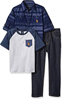 U.S. Polo Assn. Boys' Little Long Sleeve, T-Shirt and Pant Set