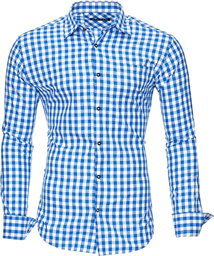 Kayhan Camisas Hombres Camisa Hombre Manga Larga Ropa Camisas de Vestir Slim fácil de Hierro Fit SML XL XXL-6X - Modello Oktoberfest Camisa Cuadros