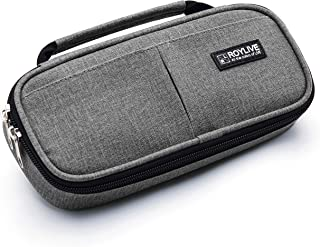 Pencil Case, [New Design] ROYLIVE Larger Capacity | Dual Zipper | Handy Designed Pencil Holder Pen Bag Pouch Organizer for School and Office Supplies - Grey