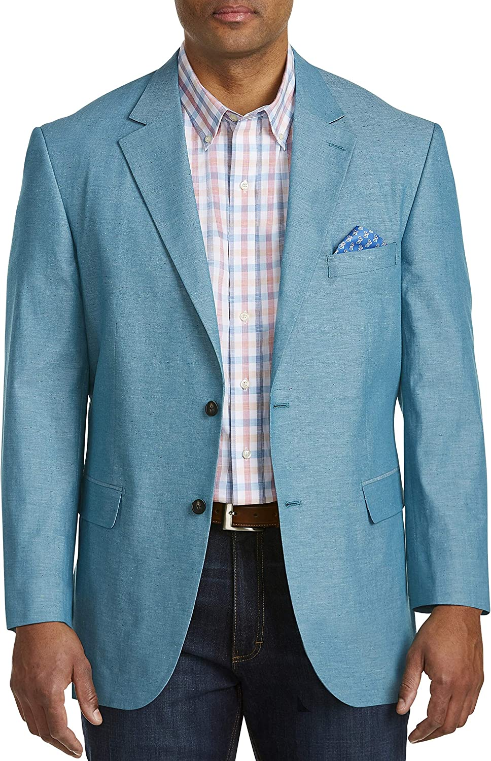 Oak Hill by DXL Big and Tall Jacket-Relaxer Chambray Textured Sport Coat