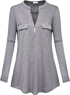 YaYa Bay Women's Notch-V Neck Long Sleeve Roll-Up Sleeve Zip Up Casual Shirt Blouse Tops