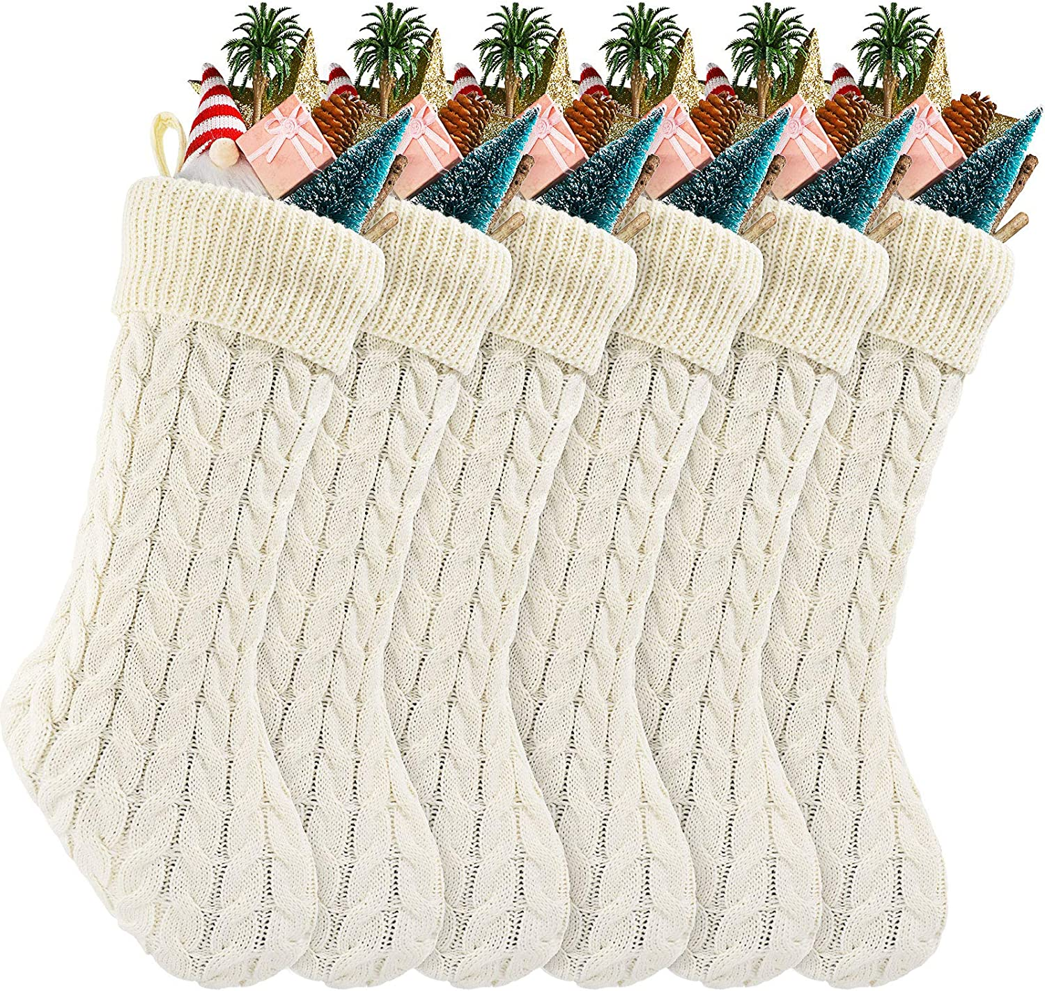 6 Packs 18 Inch Cable Knit Stockings Price reduction Knitted Christmas Max 65% OFF Stoc Xmas