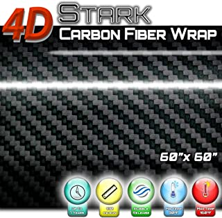 4D Black Carbon Fiber Vinyl Wrap Sticker Air Release Bubble Free Anti-Wrinkle 5 x 5 FT Feet / 60