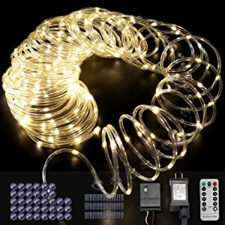 Sinamer Rope Lights Waterproof 200 LED Rope String Lights 66 Ft Plug in 8 Modes with RF Remote & Timer Fairy Lights Indoor Outdoor Decoration for Garden Patio Christmas Party, Warm White