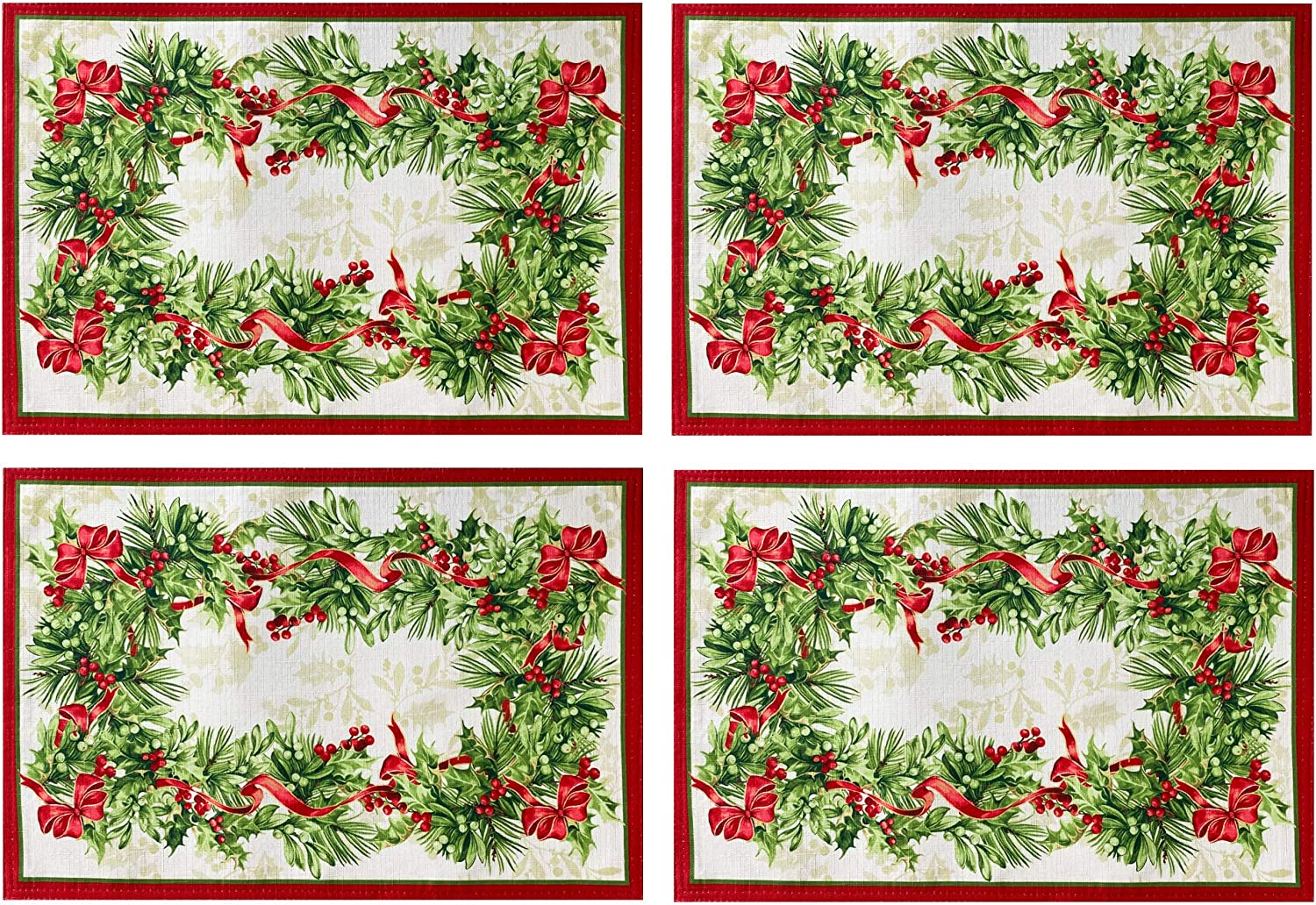 Boughs of Holly and Berry Ribbon Garland Print Easy Care Tablecloths and Napkins Newbridge Holly Ribbon Traditions Bordered Christmas Fabric Tablecloth Set of 4 Placemats
