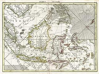 Historical 1770 Bonne Map of The East Indies (Java, Sumatra, Borneo, Singapore) - 18 x 24in Fine Art Print - Antique Vintage Map