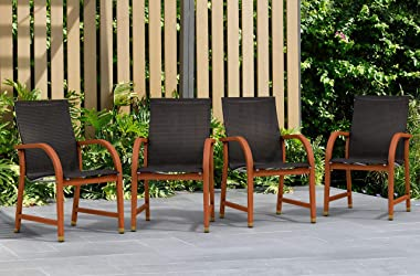 Amazonia Bahamas 4-Piece Outdoor Dining Sling Armchair Set | Eucalyptus Wood | Ideal for Patio and Indoors, 4 Chairs