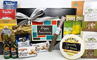 Gourmet Happy Anniversary Gift Basket Box Prime - Almost 4 Pounds - Remember a Special Couple with this Special Box - Great for 25th 25 and 50th 50 Marriage Anniversaries and also Work Anniversaries!