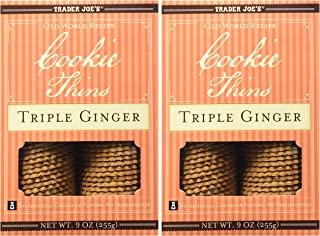 Trader Joe's Cookie Thins Triple Ginger, (Pack of 2)