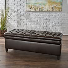 Christopher Knight Home Sheffield PU Brown Tufted Storage Ottoman