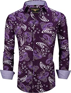 Premiere Men's Colorful Paisley Designer Fashion Dress Shirt Floral Casual Shirt Woven Long Sleeve Button Down Shirt
