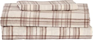 Stone & Beam Rustic 100% Cotton Plaid Flannel Bed Sheet Set, Easy Care, Twin XL, Ivory and Cream