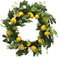 CVHOMEDECO. Rustic 22 Inch Artificial Faux Lemon Wreath with Green Leaves and Daisy, Spring Summer Autumn Festival Wreath ...