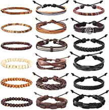 Hanpabum 18pcs Braided Leather Bracelets for Men Women Woven Cuff Wrap Bracelet Wood Beads Ethnic Tribal Bracelets Adjustable