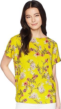 Petite Floral Linen-Blend Top