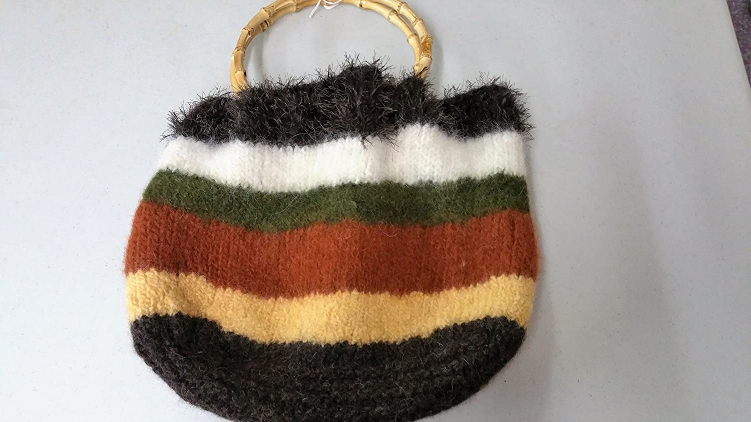 Hand Knitted San Francisco Mall Felted Satchel Choice in Brown and Stripes Multi