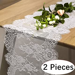 B-COOL 14 X 120 Lace Table Runner Exquisite Lace Fabric with Rose Vintage Embroidered Perfect for Wedding Boho Party Decor 2 pieces
