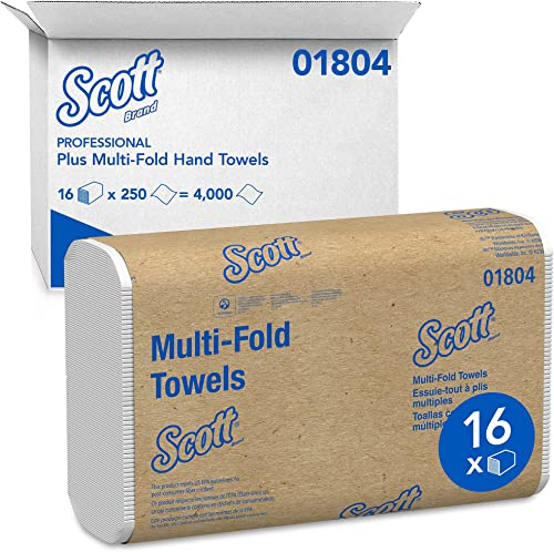 Scott Essential Multifold Paper Towels (01804) with Fast-Drying Absorbency Pockets, White, 16 Packs/Case, 250 Multifo...