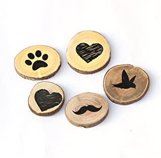 IVEI Wooden Magnets – Circular Shaped Magnet with Heart, Bird, Paw, Moustache Design – Handcrafted Wooden Fridge Magnet – ...