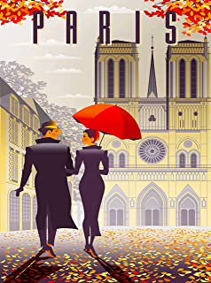 Notre Dame Cathedral of Reims Paris in Autumn France French European Europe Retro Travel Home Collectible Wall Decor Advertisement Art Poster Print. 10 x 13.5 inches