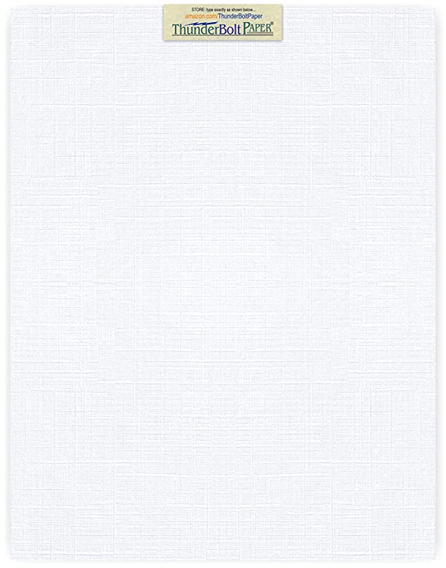 25 Bright White Linen 80# Cover Paper Sheets - 11