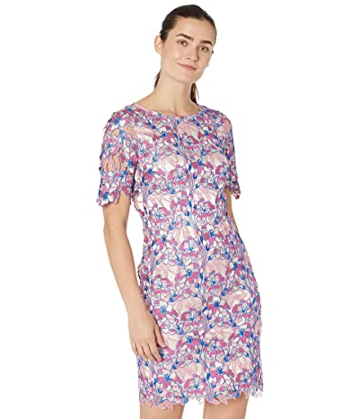 Tahari by ASL Short Sleeve 3-D Chemical Lace Dress