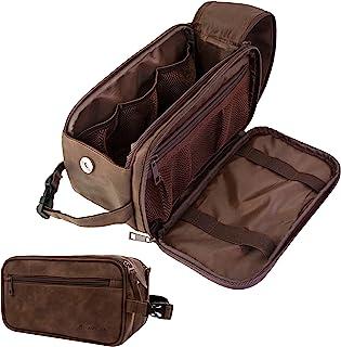 PAVILIA Toiletry Bag for Men, Travel Toiletries Bag Water-resistant Dopp Kit, Leather Shaving Organizer for Cosmetic, Hygiene