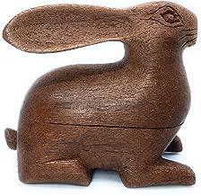 THE JOY TREE Teak Wood Bunny Rabbit Home Décor Collectible Figurine Trinket Box
