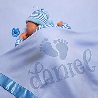Personalized Baby Blankets w/Name - Baby Receiving Blanket - 36x36 in | Satin Trim, Fleece | Blue - Baby Boy Gifts, Baby Shower Gift, Baby Stuff, Welcome Baby Gifts for Newborns | Footprints