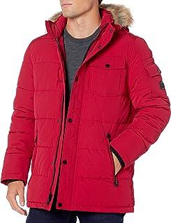 Men's Quilted Parka Jacket Removable Faux Fur Hood