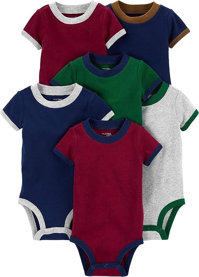 Baby Jungen Body Aus Baumwolle Mit Kurzen Ärmeln, 6er-Pack