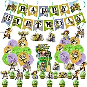 Shrek Birthday Party Decorations,Cartoon Sherk Theme Party Supplies Birthday Decorations for Boys Girls with Happy Birthday Banner,Cake Topper,Cupcake Toppers,Balloons,Swirls Decorations