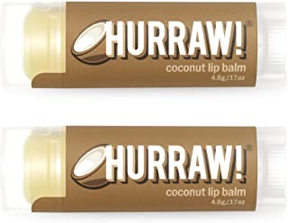 Hurraw! Coconut Lip Balm, 2 Pack: Organic, Certified Vegan, Cruelty and Gluten Free. Non-GMO, 100% Natural Ingredients. Be...