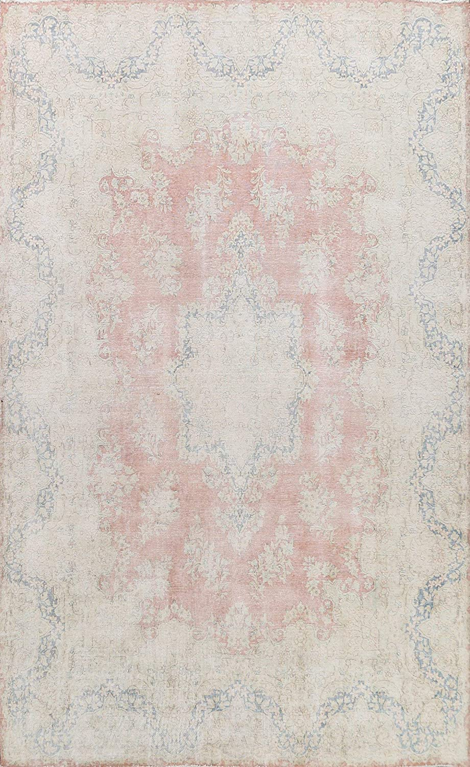 Vintage Coral Gifts Floral Muted Distressed Kirman Area Rug H specialty shop Oriental