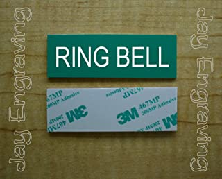 Engraved 1x3 RING BELL Self-Sticking Plate | Pine Green Name Tag Sign | Tag With Adhesive | Engraving Small Business Home Office Wall Door Plaque Doorbell Home Security Safety Signs Sign Placard