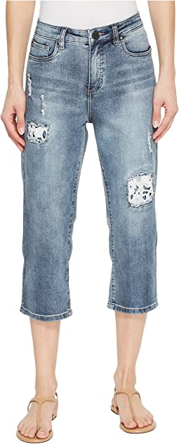 FDJ French Dressing Jeans - Lace Patch Olivia Capris in Light Indigo