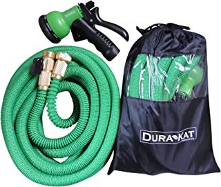 Durakat Products Lightweight 50 ft Expandable Garden Hose with 8 position spray nozzle-Heavy duty brass water shut off valve and fittings-auto expanding no kink hoses in nylon bag-shrinks for easy use