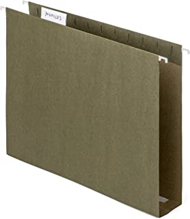 Blue Summit Supplies Extra Capacity Hanging File Folders, 25 Reinforced Hang Folders, Heavy Duty 2 Inch Expansion, Designed for Bulky Files and Charts, Letter Size, Standard Green, 25 Pack