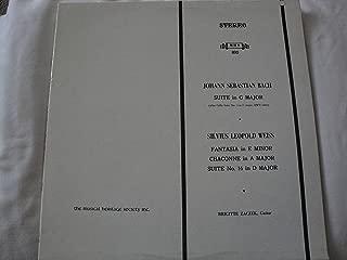 Johann Sebastian Bach Suite in G Major Silvius Leopold Weiss Fantasia in E Minor Chaconne in A Major Suite No. 16 in D Major Brigitte Zaczek, Guitar Vinyl Lp Musical Heritage Society MHS 890 Stereo