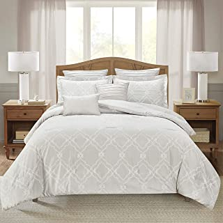 Sweet Home Collection Comforter Set 7 Piece Embroidered Decorative Printed Luxurious Bedding with Pleated Shams, Quilted Pillows, and Pillowcases, Queen, Reinbeck Linen
